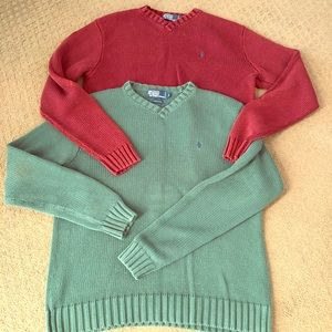 Pair polo Ralph Lauren cable knit vintage sweaters